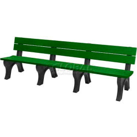polly products traditional 8 ft. backed bench, green bench/black frame