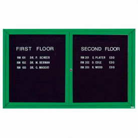 "Aarco 2 Door Letter Board Cabinet, Illuminated, Green Powder Coated - 60""W x 36""H"