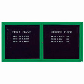 "Aarco 2 Door Letter Board Cabinet, Illuminated, Green Powder Coated - 72""W x 36""H"