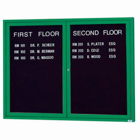 "Aarco 2 Door Letter Board Cabinet, Illuminated, Green Powder Coated - 60""W x 48""H"