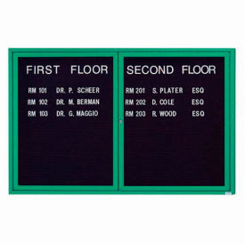 "Aarco 2 Door Letter Board Cabinet, Illuminated, Green Powder Coated - 72""W x 48""H"