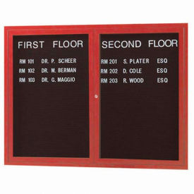 "Aarco 2 Door Frame Wood Look, Cherry Enclosed Letter Board - 48""W x 36""H"