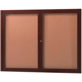 "Aarco 2 Door Frame Wood Look, Walnut Enclosed Bulletin Board - 48""W x 36""H"