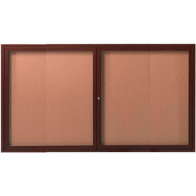 "Aarco 2 Door Frame Wood Look, Walnut Enclosed Bulletin Board - 60""W x 36""H"