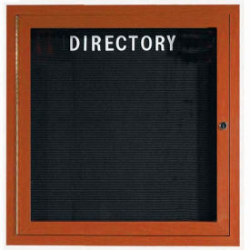 "Aarco 1 Door Aluminum Frame Wood Look, Oak Enclosed Letter Board - 36""W x 36""H"