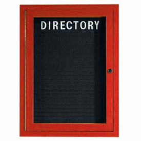"Aarco 1 Door Aluminum Frame Wood Look, Cherry Enclosed Letter Board - 18""W x 24""H"