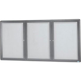 "Aarco 3 Door Design Enclosed Bulletin Board Medium Grey - 72""W x 36""H"