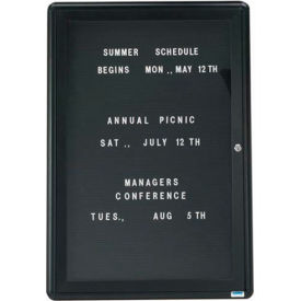 "Aarco 1 Door Design Enclosed Letter Board Graphite - 24""W x 36""H"