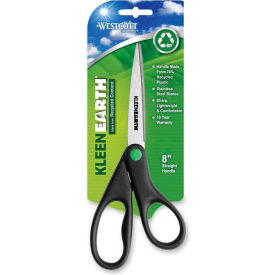 "41418 Westcott; KleenEarth Recycled Stainless Steel Scissors, 8""L Straight, Black"