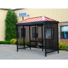 heavy duty bus smoking shelter with solar led, hip, 4-side, right front open, 5 x 10, dark brz Heavy Duty Bus Smoking Shelter With Solar LED, Hip, 4-Side, Right Front Open, 5 X 10, Dark BRZ