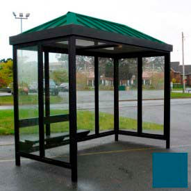 heavy duty bus smoking shelter hip roof 4-sided left/right front open 5 x 12 regal blue roof Heavy Duty Bus Smoking Shelter Hip Roof 4-Sided Left/Right Front Open 5 x 12 Regal Blue Roof