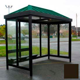 heavy duty bus smoking shelter hip roof 4-sided left/right front open 5 x 12 dark bronze roof Heavy Duty Bus Smoking Shelter Hip Roof 4-Sided Left/Right Front Open 5 x 12 Dark Bronze Roof