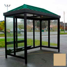 heavy duty bus smoking shelter hip roof 4-sided left/right front open 5 x 12 khaki roof Heavy Duty Bus Smoking Shelter Hip Roof 4-Sided Left/Right Front Open 5 x 12 Khaki Roof