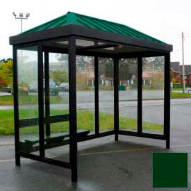 heavy duty bus smoking shelter hip roof 4-sided right front open 6 x 12 classic green roof Heavy Duty Bus Smoking Shelter Hip Roof 4-Sided Right Front Open 6 x 12 Classic Green Roof
