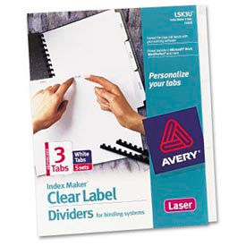 index maker clear label dividers with white tabs, 3-tab, 5 sets/pack Index Maker Clear Label Dividers With White Tabs, 3-Tab, 5 Sets/Pack