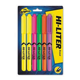 hi-liter pen style highlighters, six-color fluorescent set Hi-Liter Pen Style Highlighters, Six-Color Fluorescent Set