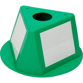 056CGREEN Inventory Cone Green 3-Sided with Dry Erase Decal
