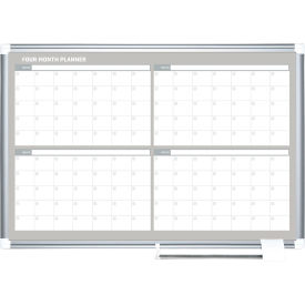 "GA05105830 Magnetic Calendar Dry Erase Board - 4 Month Planner - 48""W x 36""H - Steel Surface"