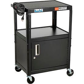 "HACAB4226E Steel Cart, Adj. 26"" To 42"" w/ Locking Security Cabinet And Electric"