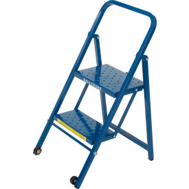 TL218 2 Step Thin Line Folding Step Ladder, 300 lb. Capacity, Blue - TL218