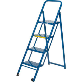 TL418 4 Step Thin Line Folding Step Ladder, 300 lb. Capacity, Blue - TL418
