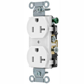 CRS20W Bryant CRS20W Commercial Grade Duplex Receptacle, 20A, 125V, White, Side Wired