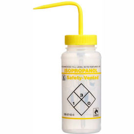 11642-0624 Bel-Art LDPE Wash Bottles 116420624, 500ml, Isopropanol Label, Yellow Cap, Wide Mouth, 3/PK