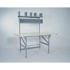 basic packing work table with shelves, plastic laminate safety edge - 72 x 36
