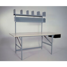 standard packing table with shelves & parts drawer, plastic laminate safety edge - 84 x 36