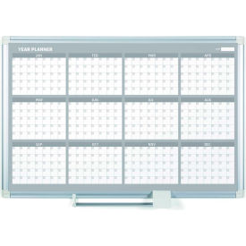 "GA03106830 MasterVision Magnetic 12 Month Planner Traditional Format, Steel Surface, 36""W x 24""H"