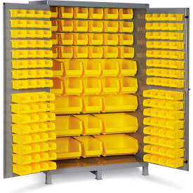 "JC-171-95G Bin Cabinet Flush Door with 171 Yellow Bins, 16 Ga. All-Welded Cabinet 48""W x 24""D x 78""H, Gray"