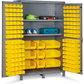 "JC-137-3S-95G Bin Cabinet Flush Door with 137 Yellow Bins, 16 Ga. All-Welded Cabinet 48""W x 24""D x 78""H, Gray"