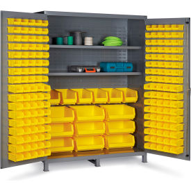 "SSC-185-3S-95G Bin Cabinet Flush Door with 185 Yellow Bins, 16 Ga. All-Welded Cabinet 60""W x 24""D x 84""H, Gray"