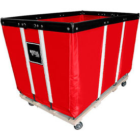 "R24-RRW-HDA-4UNN 24 BU-Heavy-Duty Basket Trucks By Royal - Vinyl Liner - 54""Lx34""Dx37.5""H 4 Swivel Casters-Red"