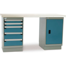 "7882700 Rousseau Workbenches One Cabinet and One 5-Drawer Pedestal 3"" 72x30"" ESD Top"