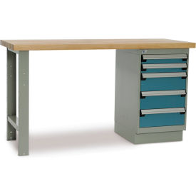 "7882900 Rousseau Workbench with One 5-Drawer Pedestal - 3"" H, 6"" H Front Drawer Heights - 60x30"" Maple Top"