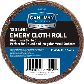 "77302 Century Drill 77302 Emery Cloth Shop Roll 10 Yards 1"" Wide 180 Grit"