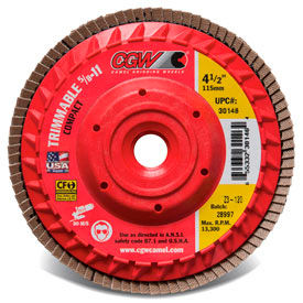 "30205 CGW Abrasives 30205 Trimmable Flap Discs with Built in Hub 4-1/2"" x 5/8-11"" 80 Grit Ceramic"