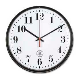 "67300302 Chicago Lighthouse 12.75"" Round Radio Controlled Wall Clock, Plastic Case, Black"