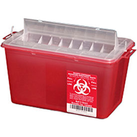 plasti-products 145004 4-quart sharps container, horizontal entry, red, case of 25 Plasti-Products 145004 4-Quart Sharps Container, Horizontal Entry, Red, Case of 25