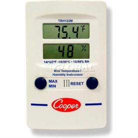 TRH122M-0-8 Cooper Mini Wall Thermometer, Trh122m-0-8, Digital Temperature & Humidity, Dual Display