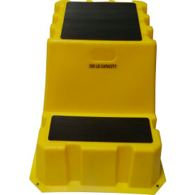 "NTXST-2-14 2 Step Tall Nestable Plastic Step Stand - Yellow 24-3/4""W x 33""D x 24""H - NTXST-2-14"