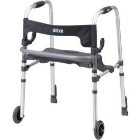 10233 Drive Medical 10233 Clever-Lite LS Rollator Walker with Seat and Push Down Brakes