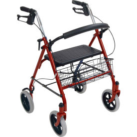 10257RD-1 Drive Medical 10257RD-1 4-Wheel Walker Rollator with Fold Up Removable Back Support, Red