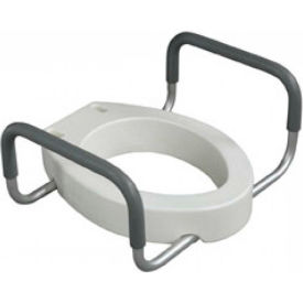 12403 Drive Medical 12403 Premium Toilet Seat Riser with Removable Arms, Fits Elongated Toilets