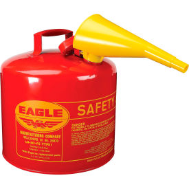 UI-50-FS Eagle Type I Safety Can - 5 Gallon with Funnel - Red, UI-50-FS