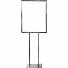 "BH28 22"" x 28"" Bulletin Sign Holder w/ Flat Base - Chrome"