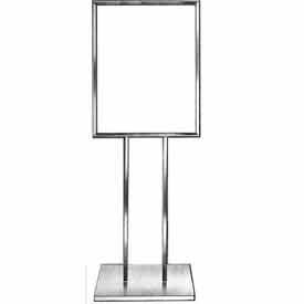 "BH29 22"" x 28"" Bulletin Sign Holder w/ Extra-Heavy Raised Base - Chrome"