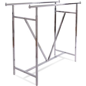 K41 Heavy Duty Double Bar Garment Rack (K41) w/ V-Brace - Chrome