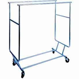 RCS/3 Collapsible Rolling Garment Rack RCS-3 w/ Double Rail Round Tubing - Chrome